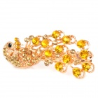 Charming Alloy Strass Peacock Style Hair Pin Clip - Golden