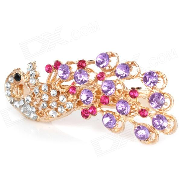Charming Alloy Rhinestone Peacock Style Hair Pin Clip - Purple + Golden
