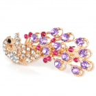Charming Alloy Strass Peacock Style Hair Pin Clip - Purple + Golden