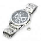 Wilon 1025 Fashion Man's Stainless Steel Band Quartz Analog Waterproof Wrist Watch - Silver