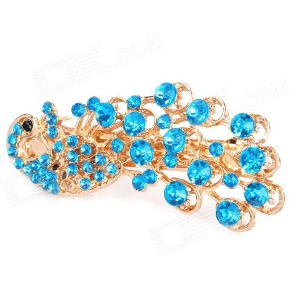 Charming Alloy Rhinestone Peacock Style Hair Pin Clip - Blue + Golden
