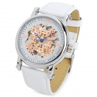 ST.PATRICK FI-201A Skeleton Self-Winding Genuine Leather Band Mechanical Analog Wrist Watch - White