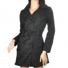 Fashion Woman's Cotton Coat Jacket w/ Double Breasted + Side Front Pocket - Black (Size L)