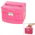 Alligator Pattern PU Leather 3-Layer Cosmetic / Jewelry Storage Box w/ Mirror - Deep Pink