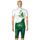 OQsport Cycling Bicycle Riding Short Sleeves Suit Jersey + Shorts Set - Green + White (Size-XXL)