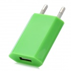 Stylish AC Power Adapter Charger w/ USB Output for Cell Phones - Green (2-Round-Pin Plug)