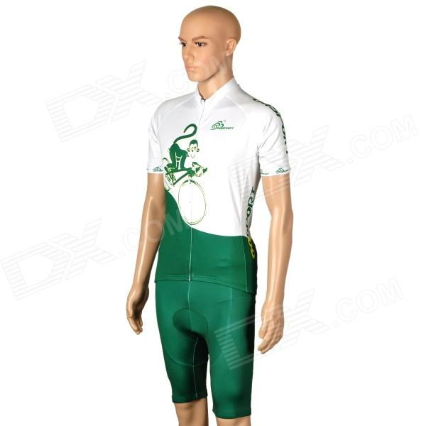 OQsport Cycling Bicycle Bike Riding Short Sleeves Suit Jersey + Shorts Set - Green + White (Size-L)
