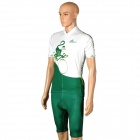 OQsport Cycling Bicycle Bike Riding Short Sleeves Suit Jersey + Shorts Set - Green + White (Size-M)