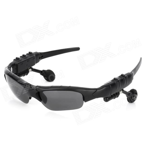 Bluetooth v1.2 UV400 Protection Sunglasses w/ Microphone - Black (2GB)