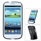 Protective Plastic Back Case w/ Stand for Samsung Galaxy S3 i9300 - Black