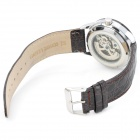 Casual Man's Self-Winding Genuine Leather Band Mechanical Analog Waterproof Wrist Watch - Black