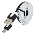 USB Male to Micro USB Male Data / Charging Flat Cable for HTC / Samsung / Sony + More - Black