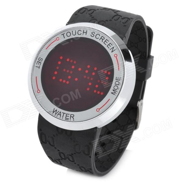 Casual Touch Screen Rubber Band Red Light LED Digital Wrist Watch - Black (1 x CR2032)
