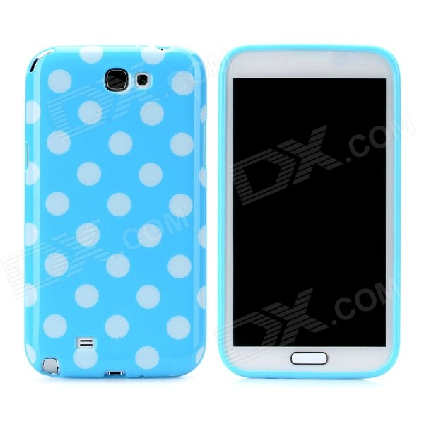 Polka Dot Pattern Protective Silicone Back Case for Samsung Galaxy Note 2 N7100 - Blue + White handpainted cactus and polka dot printed pillow case