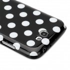 Polka Dot Pattern Protective Silicone Back Case for Samsung Galaxy Note 2 N7100 - Black + White