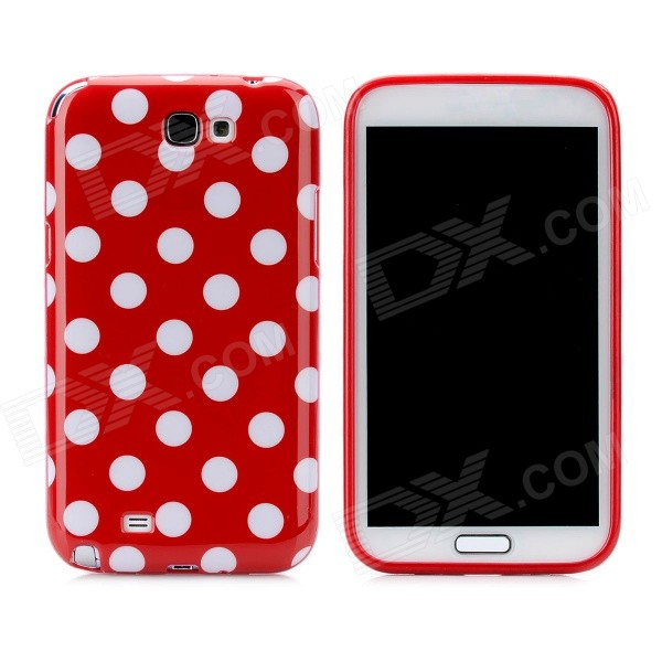 Polka Dot Pattern Protective Silicone Back Case for Samsung Galaxy Note 2 N7100 - Red + White cool basketball skin pattern silicone protective back case for samsung galaxy s4 i9500 black red
