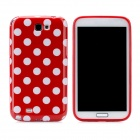 Polka Dot Pattern Protective Silicone Back Case for Samsung Galaxy Note 2 N7100 - Red + White