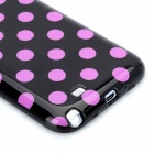 Polka Dot Pattern Protective Silicone Back Case for Samsung Galaxy Note 2 N7100 - Black + Purple