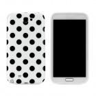 Polka Dot Pattern Protective Silicone Back Case for Samsung Galaxy Note 2 N7100 - White + Black