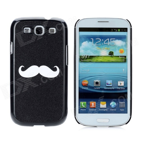 Moustache Pattern Protective PC Hard Case for Samsung Galaxy S3 i9300 - Black fashionable protective bumper frame case with bowknot for samsung galaxy s3 i9300 black