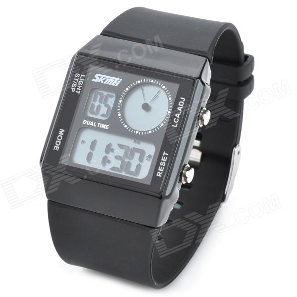 SKMEI SK-0841 Casual Man's Rubber Band Analog Digital Blue Light LED Waterproof Wrist Watch - Black skmei blue led watch with round dial silicon watch band