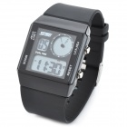 SKMEI SK-0841 Casual Man's Rubber Band Analog Digital Blue Light LED Waterproof Wrist Watch - Black
