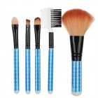 Mini Portable Professional 5-in-1 Cosmetic Pinsel Set - Schwarz + Weiß + Blau