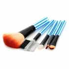 Mini Portable Professional 5-in-1 Cosmetic Brushes Set - Black + White + Blue