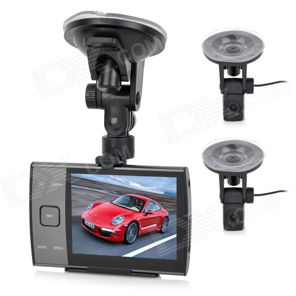 "ZEA-MD228 3.5"" Dual-Lens 300KP CMOS Wide Angle Digital Car DVR Camcorder - Black"