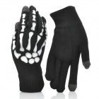 Skeleton Finger Pattern Capacitive Screen Touching Hand Warmer Gloves - Black + White (Pair)