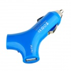 Y Shape Dual USB Car Cigarette Lighter Power Adapter / Charger  for Iphone / Ipad - Blue