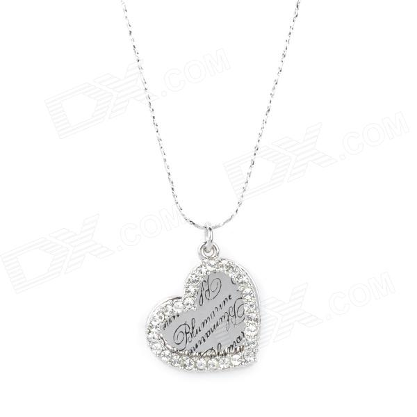 KCCHSTAR BK-636S Silver Plated Alloy Artificial Fancy Colored Diamond Heart Shaped Necklace - Silver