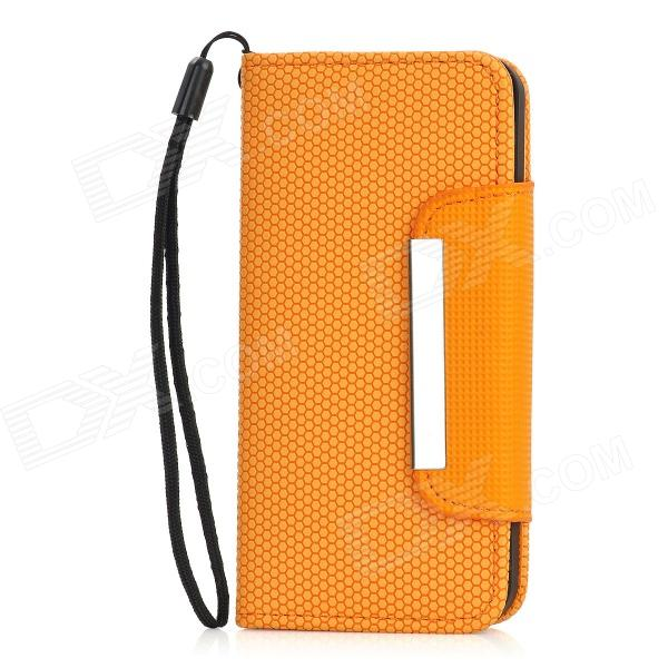 Football Grain Pattern Protective PU Leather Flip Open Case w/ Strap for Iphone 5 - Orange kalaideng protective litchi pattern pu leather flip open case for htc one m7 white orange