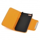 Football Grain Pattern Protective PU Leather Flip Open Case w/ Strap for Iphone 5 - Orange