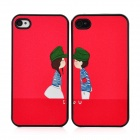 Cartoon Lovers Pattern Protective Hard Back Cases Set for Iphone 4 / 4S - Red (2 PCS)