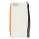 Football Grain Pattern Protective PU Leather Flip Open Case w/ Strap for Iphone 5 - Orange + White