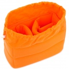 Multi-Function Padded Cotton Fabric Drawstring Internal Bag Pouch - Orange