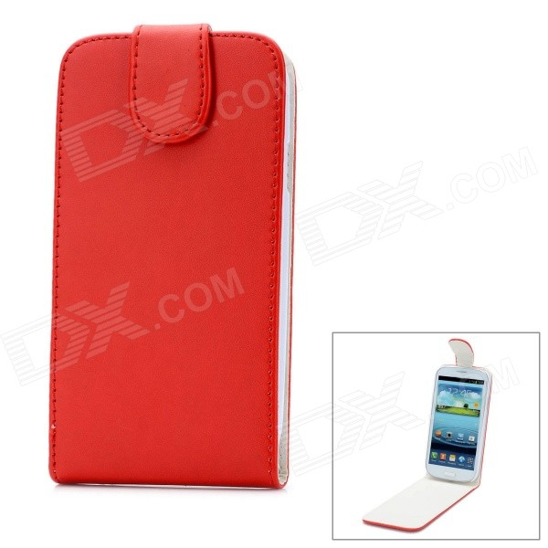 Fashion Protective PU Leather Top Flip-Open Case w/ Magnetic Buckle for Samsung i9300 - Red