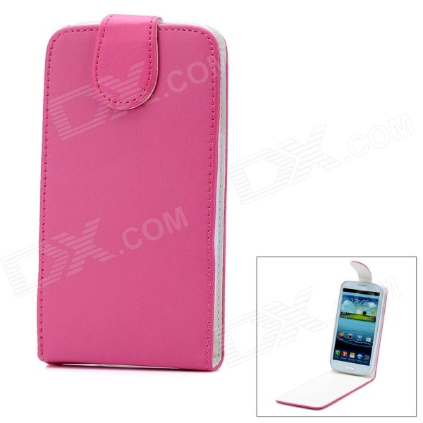 Fashion Protective PU Leather Top Flip-Open Case w/ Magnetic Buckle for Samsung i9300 - Deep Pink
