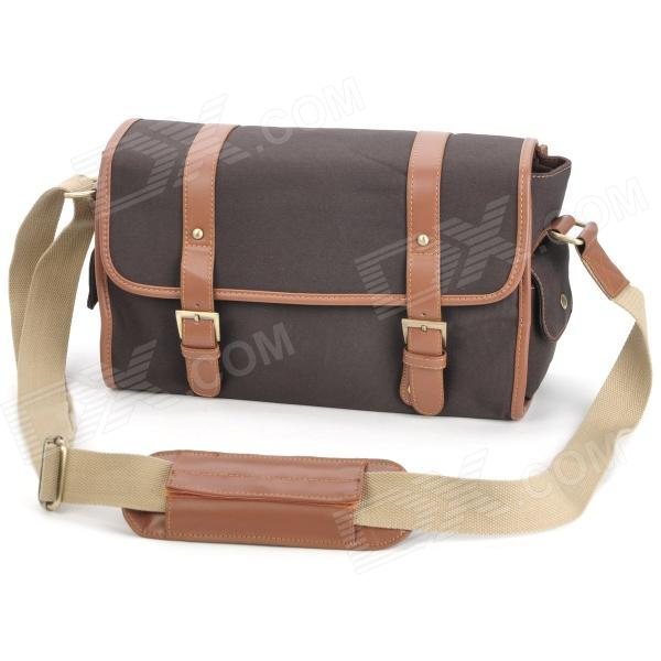 Universal Multi-Pocket Canvas DSLR Camera Shoulder Bag - Dark Coffee