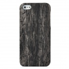 PU Leather Cover Wood Grain Style Protective PC Hard Back Case for Iphone 5 - Black