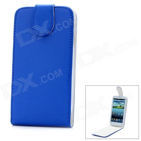 Fashion Protective PU Leather Top Flip-Open Case w/ Magnetic Buckle for Samsung i9300 - Blue