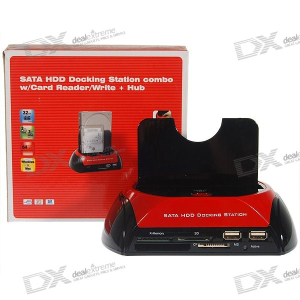 "USB Vertical Dock with One Touch Backup + SDHC Multi-Card Reader + USB Hub for 2.5""/3.5"" SATA HDD"