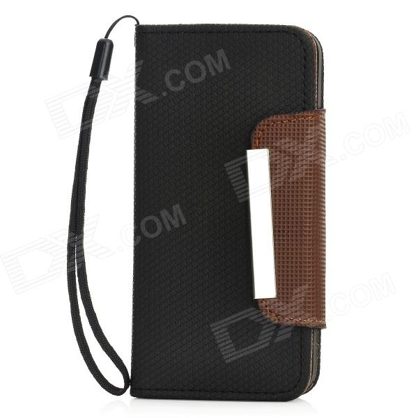 Football Pattern Protective Flip-Open PU Leather Case for Iphone 5 - Black + Brown