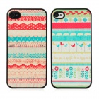 Flower Lace Lovers Pattern Protective Hard Back Cases Set for Iphone 4 / 4S - Multi-Colored (2 PCS)
