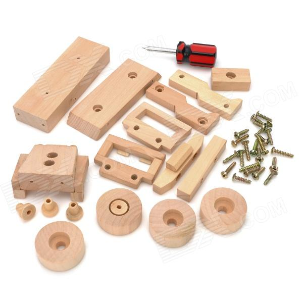 WT703 Eco-Friendly Wooden DIY Assembling Jeep Model Educational Toy