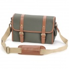 Universal Canvas Shoulder Bag for DSLR / Ipad / Tablet - Green Grey + Brown