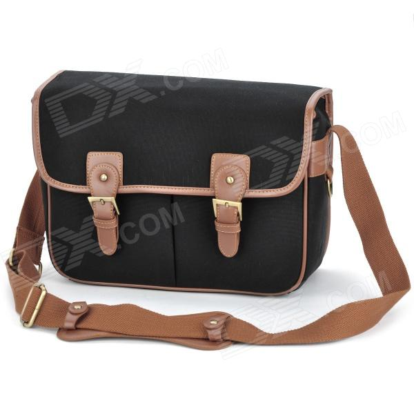 AH120 Universal Multi-Pocket Canvas DSLR Camera Shoulder Bag - Black