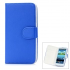 Protective Flip Open PU Leather Case Cover w/ Card Slots for Samsung Galaxy S3 / i9300 - Blue
