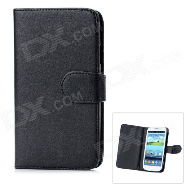 Protective Flip Open PU Leather Case Cover w/ Card Slots for Samsung Galaxy S3/I9300 - Black lichee pattern protective pu leather case stand w card slot for samsung galaxy s3 i9300 black